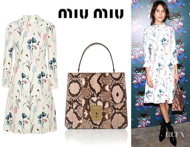 Alexa-Chungs-Miu-Miu-Printed-Crepe-Dress-And-Miu-Miu-Python-Tote